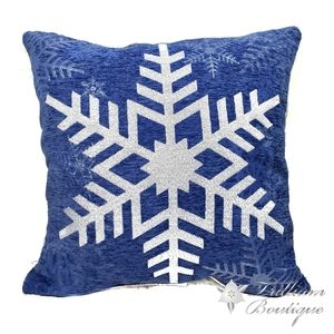 Brentwood Decorative Blue Snowflake Pillow Home